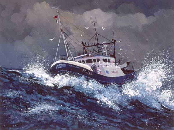 boat on stormy ocean
