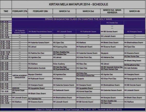 kirtan mela schedule