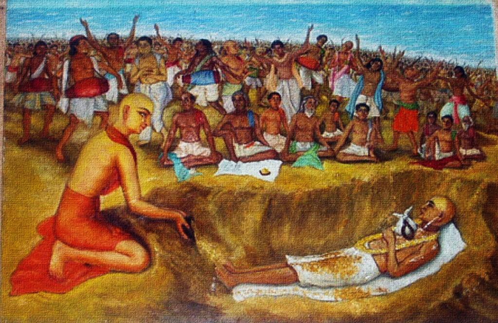 Jagannatha_Puri_Mahaprabhu_laid_Haridasa_to_samadhi