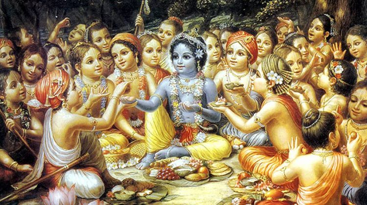 Krishna-and-the-gopas-cowherad-boys-eat-their-lunch-in-Vrindavan