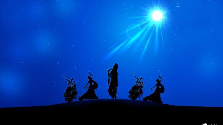 Lord-Krishna-Rass-Leela-in-Night-with-Blue-Background